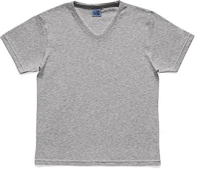 Camiseta em Decote V Básica Cinza