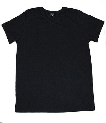 Camiseta  em Decote V Básica Preto