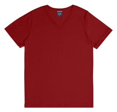 Camiseta em Decote V Básica Vermelha