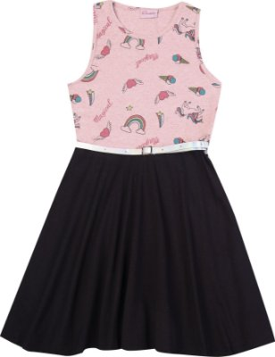 Vestido Estapampado Arco Íris com Saia Lisa e Cinto Rosa