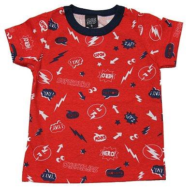 Camiseta em Meia Malha Estampada Vermelha