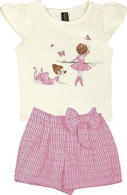 Conjunto de Blusa Estampa Bailarina e Short Laço Bege
