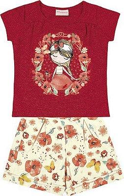 Conjunto Blusa em Cotton com Estampa Flores Menina e Short em Cotton Estampado Vermelho