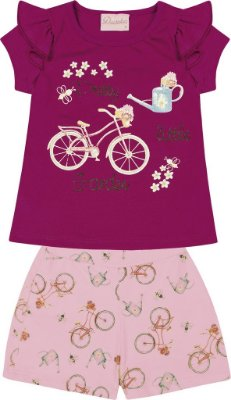 Conjunto Blusa Estampa Bicicleta e Short Cotton com Estampa Rosa