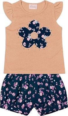 Conjunto Blusa com Detalhe em Flor  e Short Estampado Laranja
