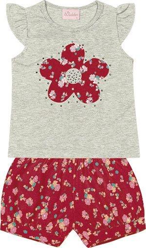 Conjunto Blusa com Detalhe em Flor  e Short Estampado Mescla