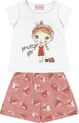 Conjunto Blusa Menina com Estampa e Shorts Estampado Branco