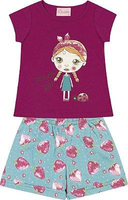 Conjunto Blusa Menina com Estampa e Shorts Estampado Rosa
