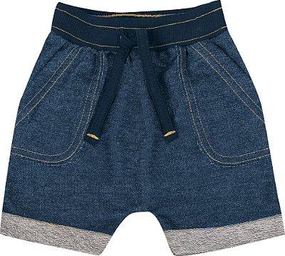 Bermuda em Moletom Jeans Azul