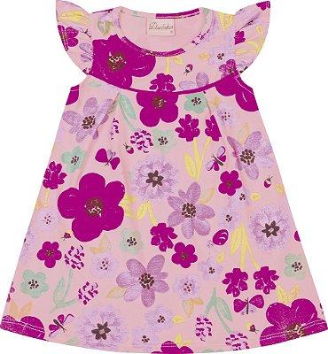 Vestido em Cotton Estampa Floral Rosa