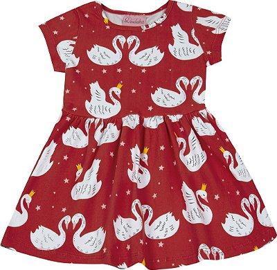 Vestido em Cotton Estampado Cisne Vermelho