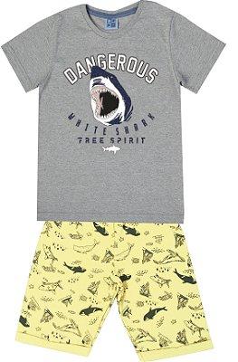 Conjunto de Camiseta Tubarão Bermuda em Moletom Soft Mescla