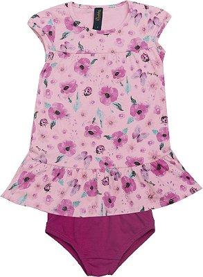 Conjunto de Vestido e Calcinha Flor Rosa