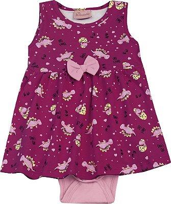 Body Vestido em Cotton Penteado Laço Rosa