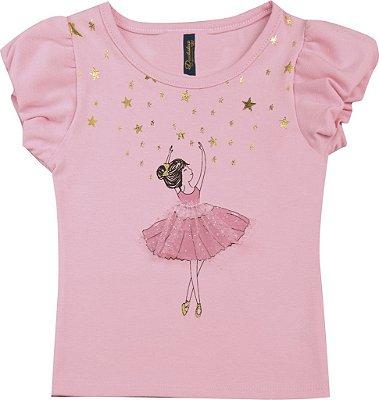 Blusa em Cotton Penteado Bailarina Rosa