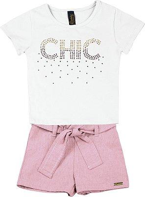 Conjunto de Blusa Chic e Short Chambray Branco