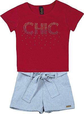 Conjunto de Blusa Chic e Short Chambray Vermelha