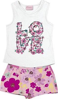 Conjunto de Blusa Estampa Love e Short Estampa Flor Branco