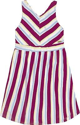Vestido em Tricoline com Estampa Rotativa Rosa