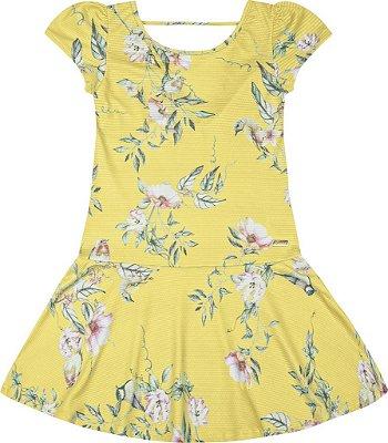 Vestido em Tecido Texturizado com Sublimação Amarelo