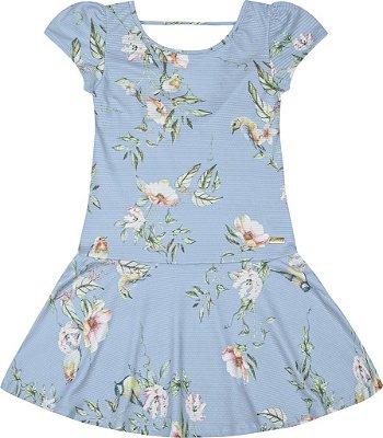 Vestido em Tecido Texturizado com Sublimação Azul