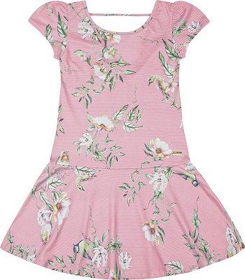 Vestido em Tecido Texturizado com Sublimação Rosa