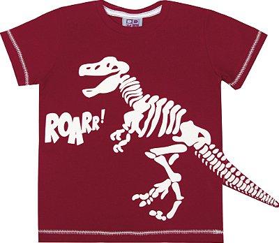 Camiseta em Meia Malha Penteada com Estampa Vermelho