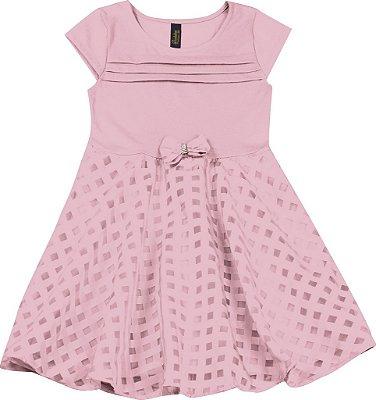Vestido em Cotton com Saia em Chiffon Rosa