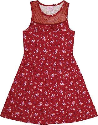 Vestido em Meia Malha Penteado com Estampa Rotativa e Renda Vermelho