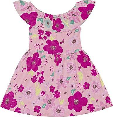 Vestido em Cotton Estampado Floral Rosa