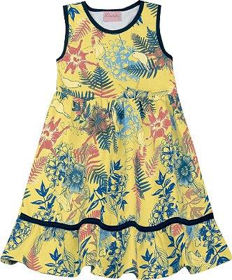 Vestido em Cotton Estampado Folhagens Amarelo