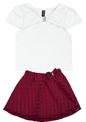 Conjunto Blusa em Cotton Penteado e Saia com Laço Branco