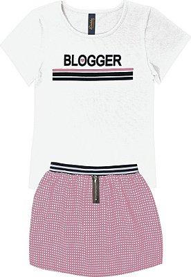 Conjunto em Blusa Blogger e Saia com Zíper Branco