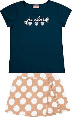Conjunto Blusa em Cotton e Saia Shorts Bolinhas Azul