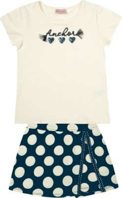Conjunto Blusa em Cotton e Saia Shorts Bolinhas Bege
