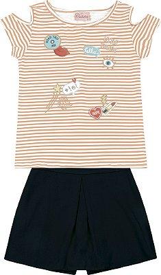 Conjunto Blusa em Cotton Listrado e Shorts Saia Preto