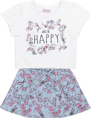 Cojunto Blusa em Cotton Happy e Saia Estampada Branco