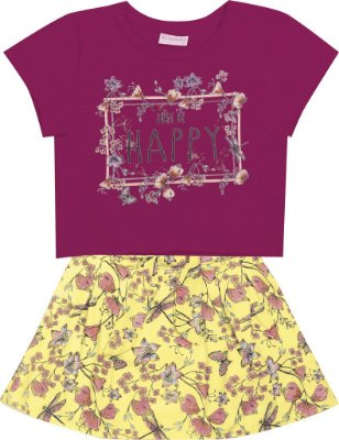 Cojunto Blusa em Cotton Happy e Saia Estampada Rosa