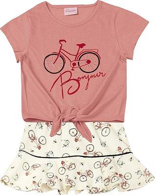 Conjunto Blusa Bicicleta e Saia em Cotton Estampada Salmão