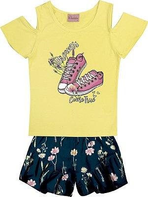 Conjunto de Blusa Estampa Tenis e short com Babado Amarelo