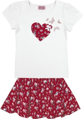 Conjunto Blusa em Cotton Estampa Coração e Saia Estampada Branco