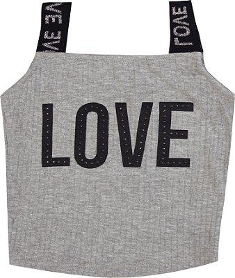 Blusa Love Com Elástico Personalizado e Strass Mescla