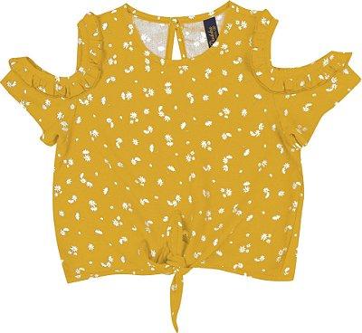 Blusa Em Tricoline Com Amarração Amarelo
