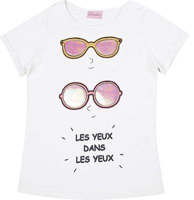 Blusa Com Estampa e Aplique de Óculos Branco