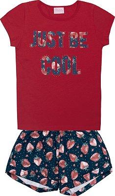 Conjunto Blusa Just Be Cool e Shorts Estampado Vermelho