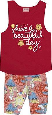 Conjunto Blusa e Short Estampa Rotativa Vermelho