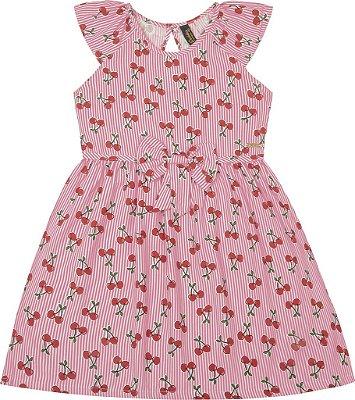 Vestido Rotativo Cerejas Rosa