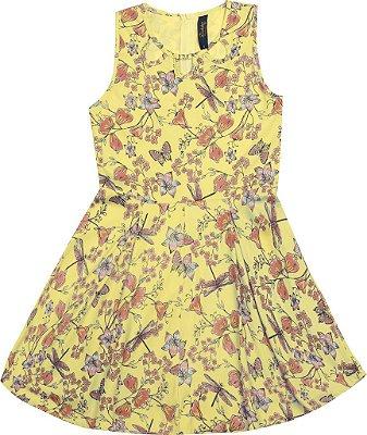 Vestido Regata Estampado Florido Borborletas Amarelo