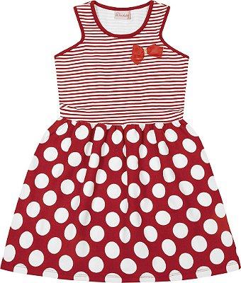 Vestido em Cotton Penteado com Laço e Detalhe Costas Vermelho