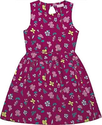 Vestido em Meia Malha Estampado Florido Rosa